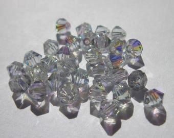 30 genuine swarovski 4mm Crystal bicones - light grey AB-(17)