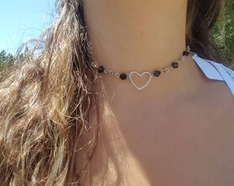 Beaded choker adjustable necklace with heart charm