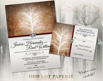 Winter Wedding Invitation, RSVP Stationery Suite, Digital Printable, Christmas Wedding, Winter Wonderland, Printable Invitations,  Rustic