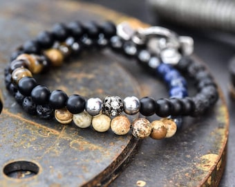 Men's bracelet, Men's stack bracelet, Bracelet for men, Men's jewelry, men's gift, Gift for men, mens beaded bracelet, Men's onyx bracelet