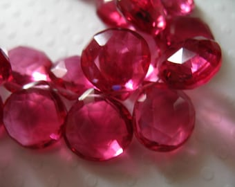 PINK QUARTZ Briolettes Beads / 10-11.5 mm Heart, Luxe AAA, 2-20 pcs / Faceted / tourmaline pink october september hydqtz50 giant bsc