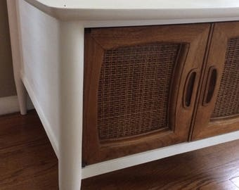 AVAILABLE: White Midcentury Accent Table / Painted Table / Cane / Media Cabinet / Accent Cabinet / Chalk Paint / Annie Sloan / White Cabinet