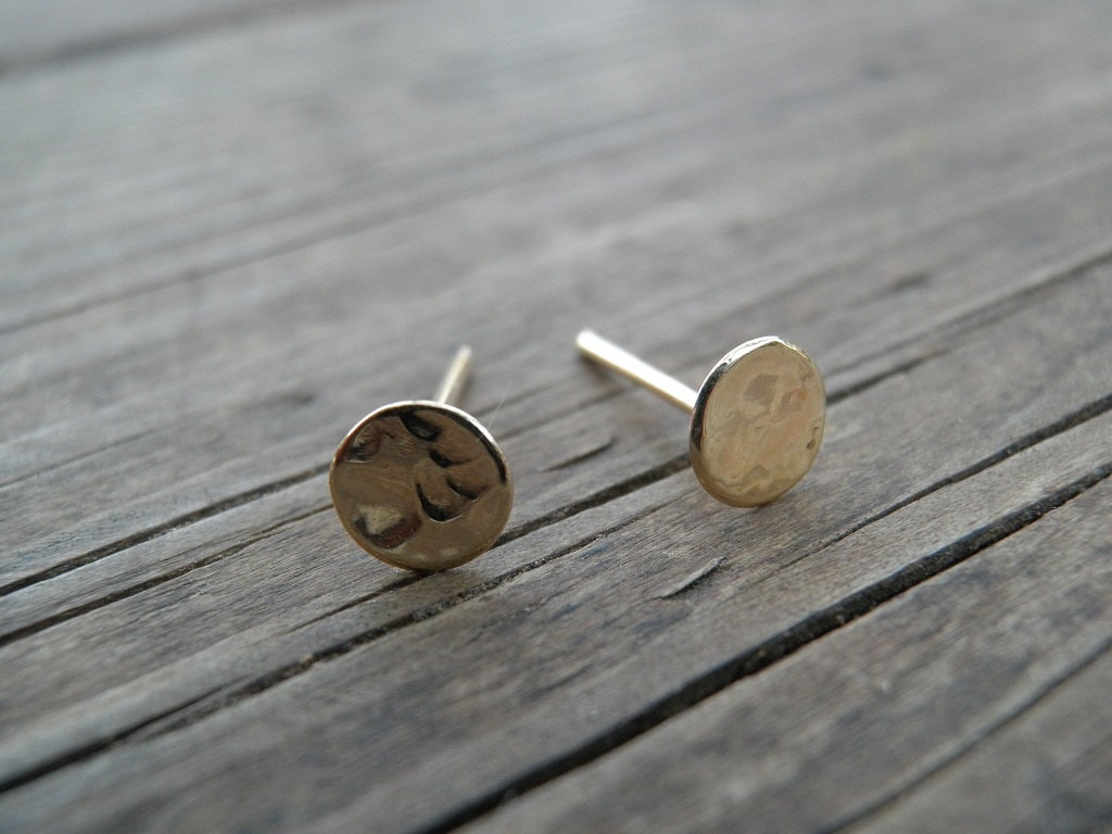 image disc larger stud flat minimalist gold view rose detail silver copper plated geometric design product