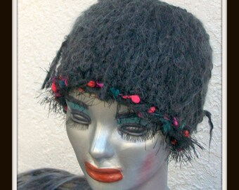 HAND KNIT HAT Woman Charcoal Gray Half hat Headband Gift Knitted Mom Sis