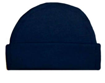 Navy Blue Capped Baby Hat. 100% Cotton Knit. Double Thick with a Built in Cap to Stay on Baby's Head. Preemie, Newborn Sizes to 6 Months