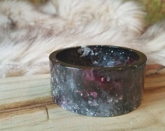 Black Ink Galaxy Resin Cuff Bangle