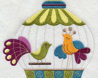 Whimsical Birdcage Embroidered  on a Flour Sack Towel Hand Towel Dish Towel