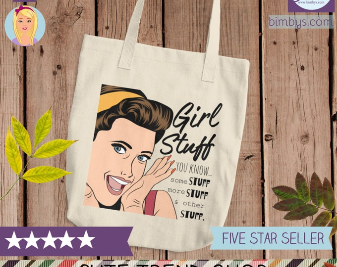 Girl Stuff Cotton Tote Bag - Cotton Canvas Tote Shopping Bag | Cute Practical Bag for Girls | Women's Reusable Tote Bag | Funny Tote bags