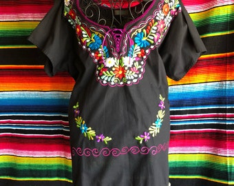 Kimono Mexican Embroidery Ladies blouse Womens Top  Large