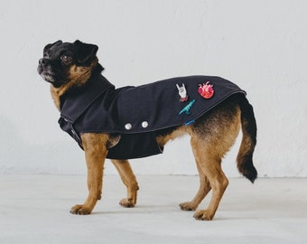 """Rocker recycled polyester dog coat - """"Yeah! Love your T-Rex"""""""