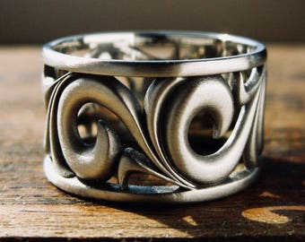 Bold Wide Wedding Ring in 14K White Gold with Black Rhodium and Matte Finish Showing Scrolls in Fine Detail Size 10