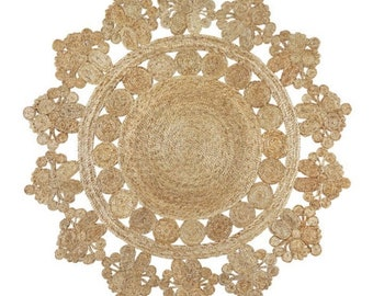 Hand Stiched Indian Jute Round Circle Rug