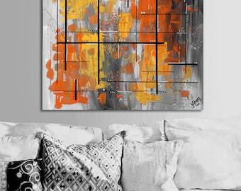 """Made to order. Original abstract painting. 24x24"""" canvas art. Geometric with yellow, orange. Yellow painting. Modern wall art. Fine art"""