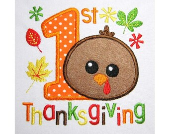 My 1st Thanksgiving Applique Machine Embroidery Design TG007