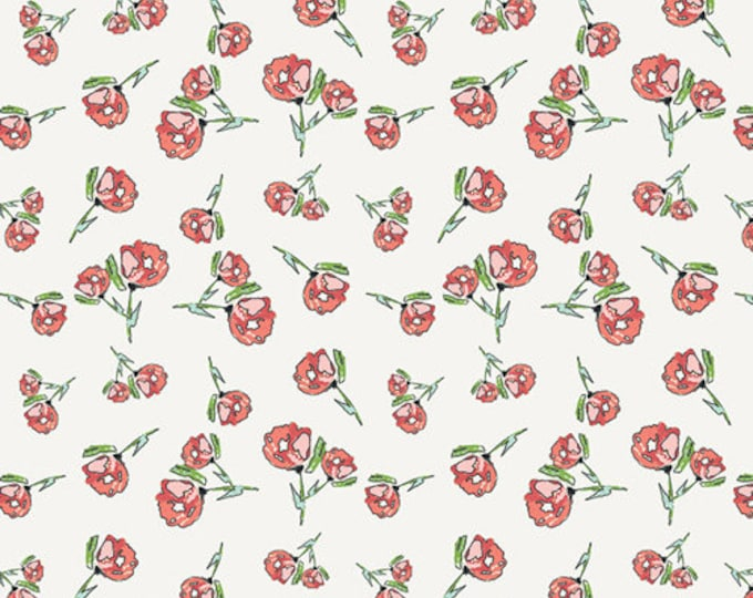 Lively Rosebuds in Crystal- Knit- Wild Bloom by Bari J. for Art Gallery Fabrics