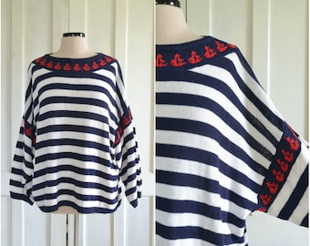 Nautical Sweater Oversized Sailboats Stripes Slouchy - plus size