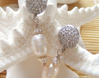 Pave Sterling Silver Pear earrings