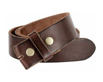 Vintage Style Brown Leather Snap Belt Strap - Thick High Quality Cow Hide - Change your Buckles - Cool Gift Ideas -  Sale