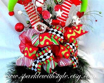 HUGE! 360 VIEW Christmas Tree Topper OR Centerpiece! - Tree Topper Bow - Christmas Bow - Raz Imports Tree Topper - Mesh Tree Topper - Elf