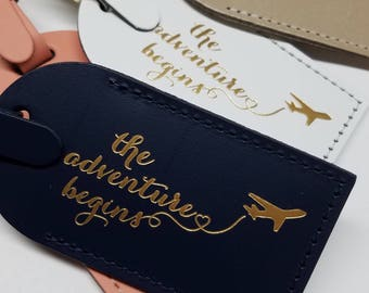 The Adventure Begins with plane Luggage Tag Gifts - Traveler - Wedding - Birthday & More! Handmade in MA, USA!