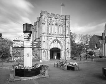 Black and white photograph of Bury St Edmunds Abbey Gate