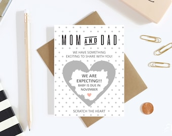 1 Scratch Off Card Pregnancy Reveal - Pregnancy Announcement - We're Expecting - Greeting Card