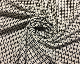 """100% Wool with Black and Off-White Check Pattern, coating weight, 60"""" wide, made in Italy"""