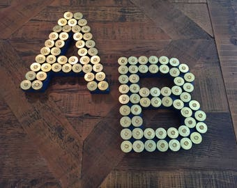 Shotgun Shell Letter Personalized-Wooden Letter-Personalized-Hunting