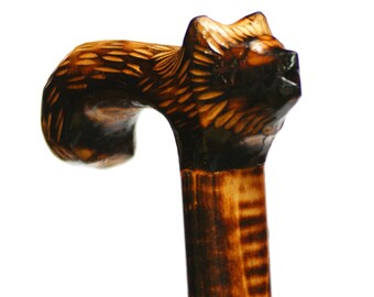 WOLF bright walking stick, wooden walking cane, wolf handle carved cane, animal wooden cane, lupus stick, straggler walking cane