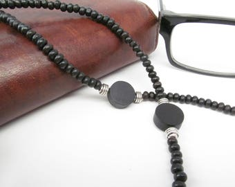 Black Wood Eyeglass Chain for Men, Mens Glasses Chain, Black Eyeglasses Holder, Eyeglasses Chain, Sunglasses Chain, Mens Eyeglass Chain