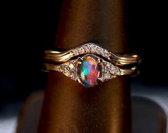 "Opal & Diamond Engagement ring SET w/ matching diamond wedding band. Gem Grade Solid White opal,Black opal,Opal Triplet. DESIGN ""P"", 7x5mm"