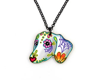 Dachshund - Day of the Dead Sugar Skull Weiner Dog Necklace