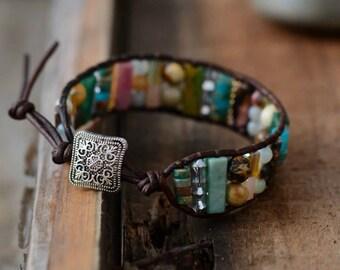 Semi precious stones Boho Natural Beads with Single Leather Wrap Bracelet