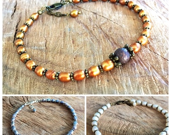 Pearl ankle bracelet, brown pearls anklet, boho chic anklet, feminine anklet, brown boho anklet, dance anklet, boho foot jewelry, gift idea