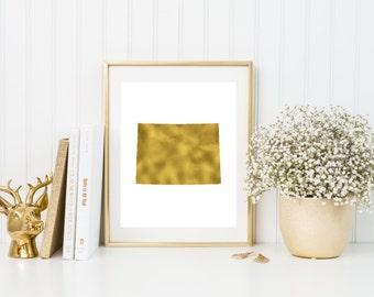Colorado gold foil print/ CO state print/ state art/ home state print/ home print/ state print/ Colorado art/ CO print/ custom state art
