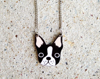 Boston Terrier Necklace, Boston Terrier Jewelry, Boston Terrier Jewellery, Dog Necklace, Dog Jewelry, Dog Jewellery, Shrink Plastic