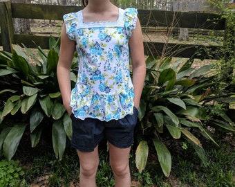Girls Floral Denim Short set