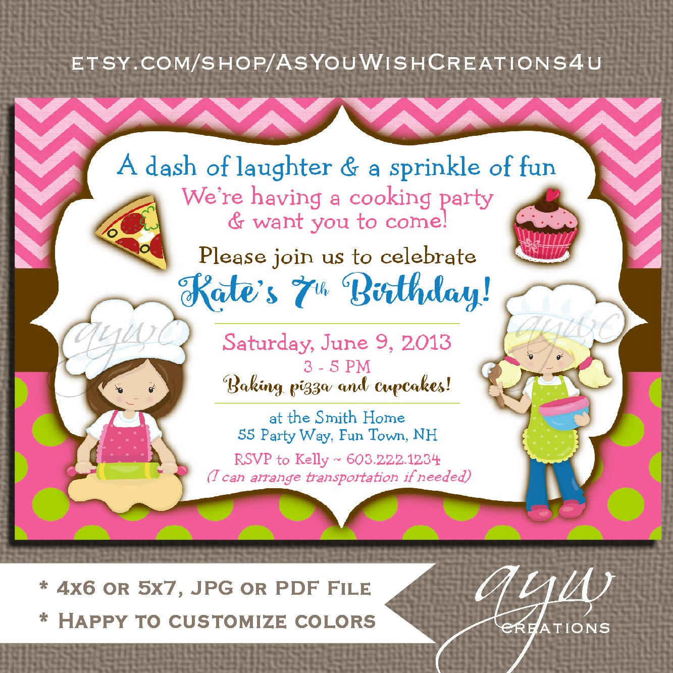 Baking Birthday Invitation Girl Birthday Baking Party