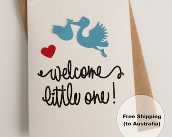 Welcome Little One Baby Card  – Congratulations Baby Boy Card – Blue Stork Baby Card – New Baby Boy Card - Baby Stork Card