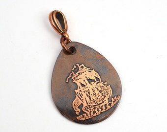Pirate ship pendant, flat etched copper teardrop, optional necklace, 29mm