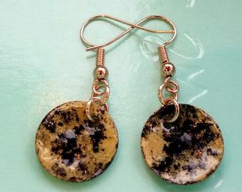 Black and Gold Enamelled Earrings