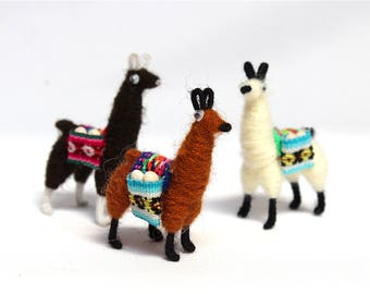 SALE 15% OFF* Llama Alpaca Fridge Magnet Andean Collectible Handcrafted Miniature Figurine with Peruvian Fabric & grains
