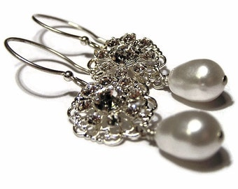 Bridal Collection - Vintage Sterling Silver Filagree and Swarovski Pearl Drops