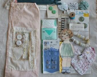 Vintage Sewing Bag & Sewing Supplies