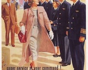 1950's Qantas Airline Advertising Poster A3 / A2 Print