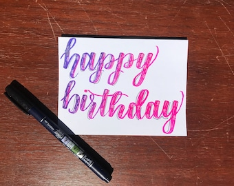 Calligraphy Birthday Card Ombré Pink