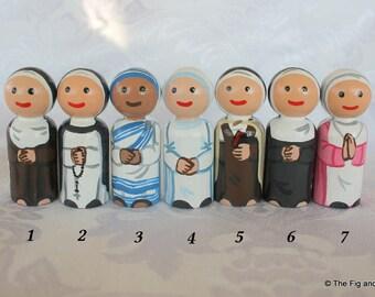 "Catholic Nun Peg Doll - Choose One - Benedictine, Carmelite, Dominican - 2 1/4"" Small Size"