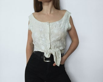 Vintage Elie Tahari Embroidered Silk Tank // Fitted Silky Buttoned Sleeveless Top // women summer elegant white knotted tie front size small