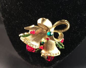 Vintage gold tone metal Christmas Bells with holly with red beads