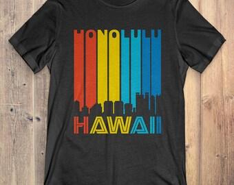 Retro 1970's Style Honolulu Hawaii Skyline Vintage T-Shirt